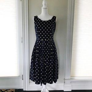 Lindy Bop Navy Blue Cream Polka Dot Dress